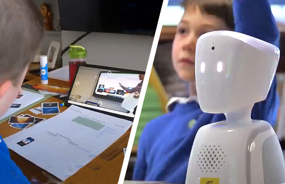 split screen: boy at home watching lesson on iPad, robot on school desk