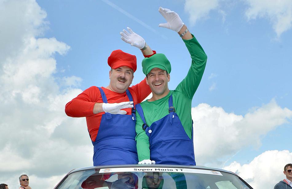 Men in Mario and Luigi Costumes