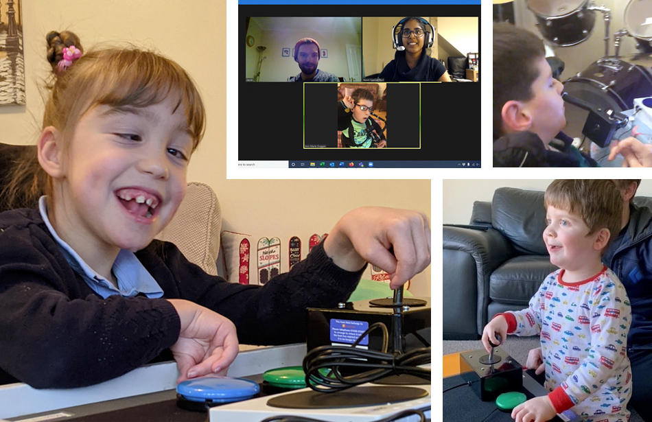 montage of three children and video call
