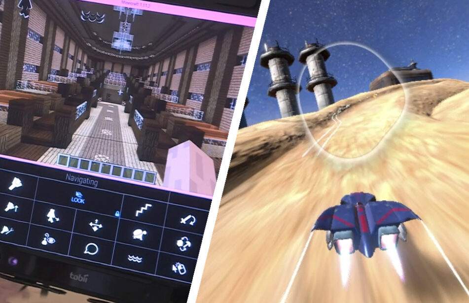 screenshots of eyemine and a racing eye gaze game